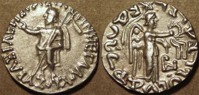 Ancient Coins - INDIA, Indo-Scythian: Azes I AR drachm: Zeus/Nike. RARE and CHOICE!