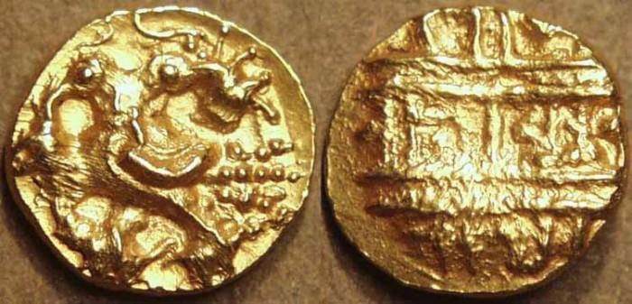 World Coins - INDIA, VIJAYANAGAR: Achyutaraya (1530-42) Gold half pagoda, Gandabherunda type. RARE!
