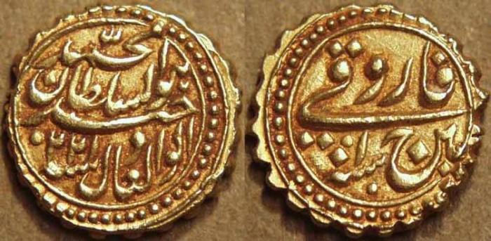 Ancient Coins - INDIA, KINGDOM OF MYSORE: Tipu Sultan (1782-1799) Gold pagoda, Patan, AM 1220. SUPERB!