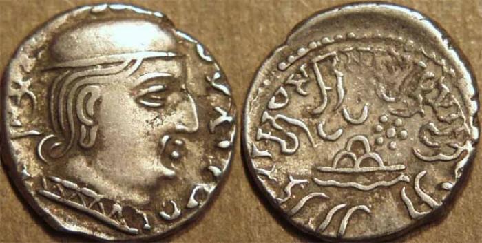 Ancient Coins - INDIA, WESTERN KSHATRAPAS: Rudrasena I (c.199-222 CE) Silver drachm, as Mahakshatrapa, Legend A, year S. 134. CHOICE!