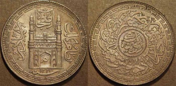 Ancient Coins - INDIA, HYDERABAD, Mir Mahbub Ali Khan (1868-1911) Charminar Series Silver rupee, Hyderabad, AH 1321, RY 38. SUPERB!