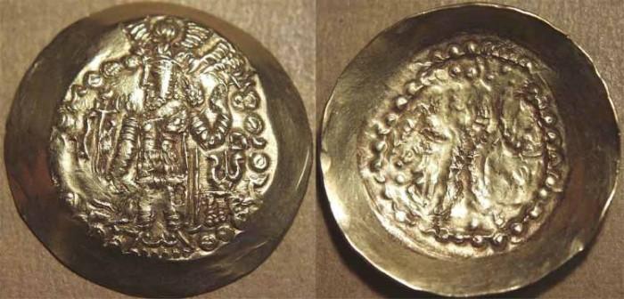 Ancient Coins - INDIA, KIDARITES in GANDHARA, Kidara: Kushano-Sasanian style Gold dinar. SCARCE + CHOICE!