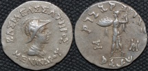 INDO-GREEK: Menander I Silver tetradrachm, helmeted type. SCARCE and CHOICE!