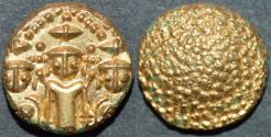 "World Coins - BRITISH INDIA, Madras Presidency: (c. 1740-1807) Gold ""3-swami"" pagoda, late type. SUPERB!"