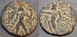 "Ancient Coins - INDIA, KUSHAN: Kanishka I AE drachm, ""Kashmir"" type, Mao reverse. SCARCE and CHOICE!"