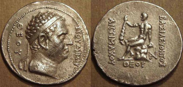 """Ancient Coins - BACTRIAN KINGDOM, Antimachus I: Silver """"pedigree"""" tetradrachm in honor of Euthydemos I. VARY RARE + CHOICE!"""