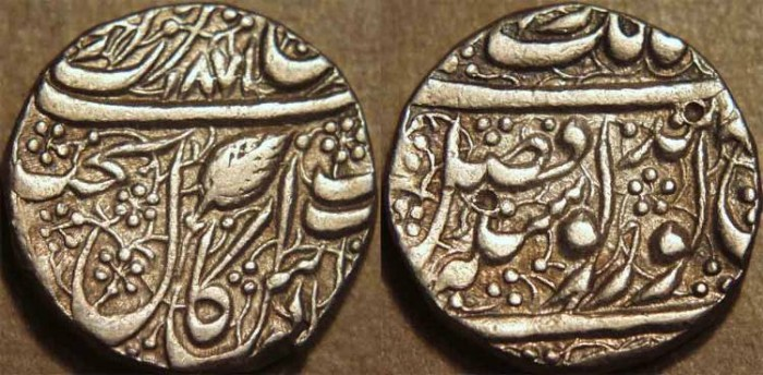 Ancient Coins - INDIA, SIKH, Silver Nanakshahi rupee, Amritsar, VS 1871. RARE DATE and CHOICE!