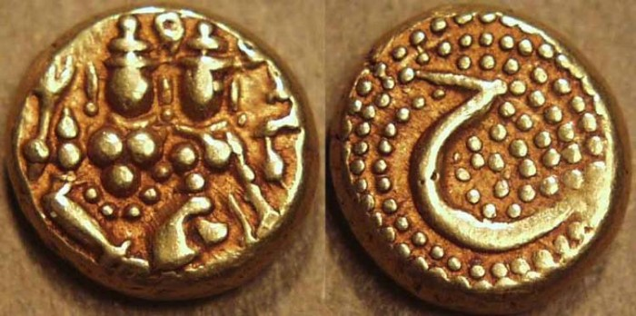 Ancient Coins - INDIA, KINGDOM of MYSORE: Haidar Ali Gold pagoda, Uma-Maheswara type with plain reverse. SCARCE+CHOICE!