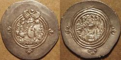 Ancient Coins - SASANIAN: Khusru II (590-627) Silver drachm, Hamadan, year 3, SUPERB!