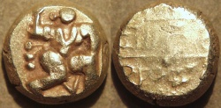 "Ancient Coins - INDIA, Nidugal Cholas: Irungola II ""Danava Murari"" Gold pagoda, Hanuman type. RARE and CHOICE!"