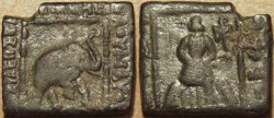 Ancient Coins - INDO-SCYTHIAN: Maues AE hemi-obol, elephant/king. VERY RARE & CHOICE!