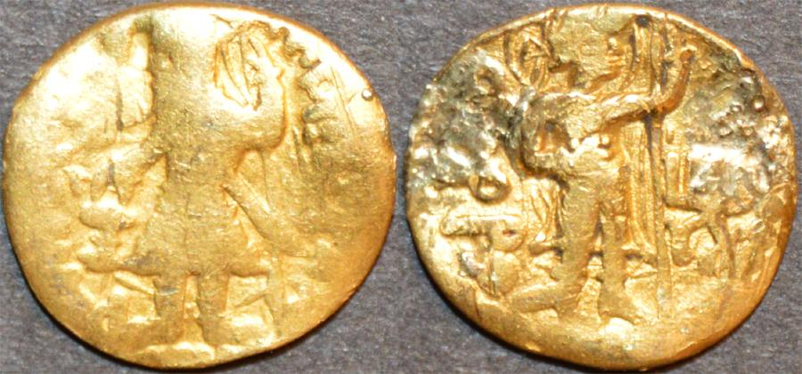 Ancient Coins - INDIA: KUSHAN, Kanishka I Gold 1/4 dinar, Pharro reverse, VERYRARE and BARGAIN-PRICED!
