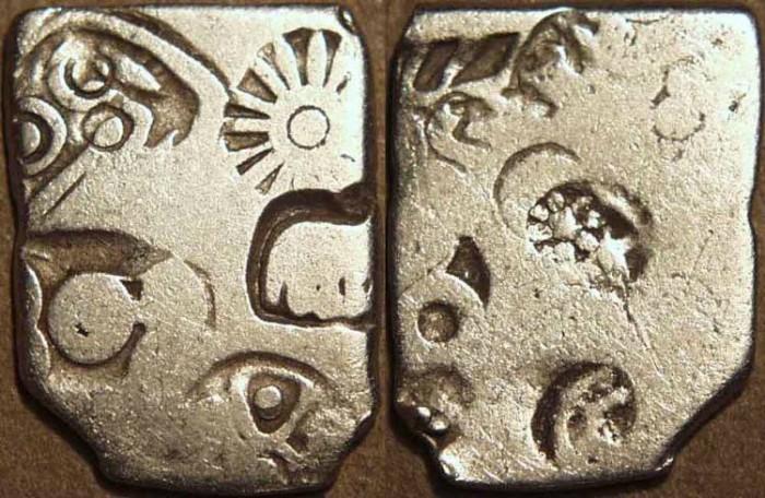 Ancient Coins - INDIA, MAGADHA: Series III Silver punchmarked karshapana, GH 322. RARE+CHOICE!