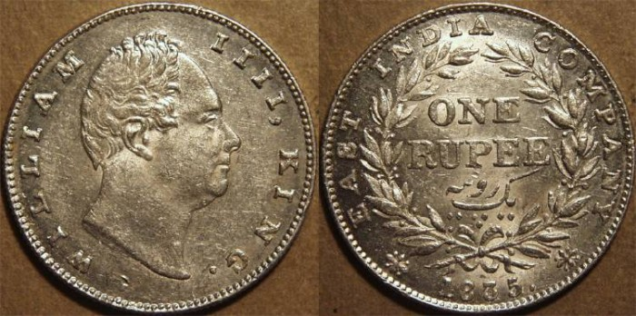 Ancient Coins - BRITISH INDIA, EAST INDIA COMPANY, William IV Silver rupee, Bombay mint, 1835. SUPERB!