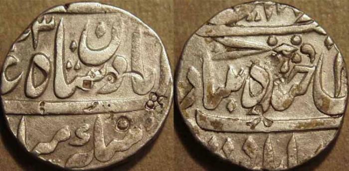 Ancient Coins - INDIA, HYDERABAD, Afzal ad-Daula (1857-69) Silver rupee ino Bahadur Shah II, Hyderabad, AH 1273. CHOICE!