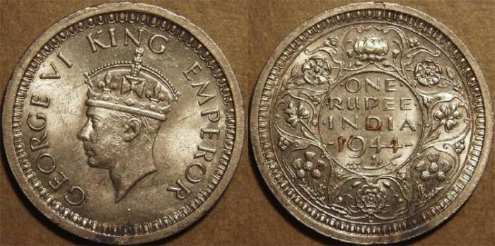 Ancient Coins - BRITISH INDIA, George VI Silver rupee, Lahore mint, 1945. SUPERB!