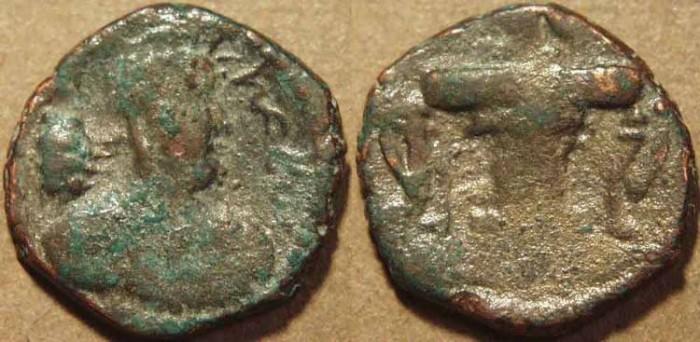 Ancient Coins - INDIA, KUSHANO-SASANIAN, Hormizd I Kushanshah: Copper drachm, heavy type, with legend of Kawad. SCARCE!