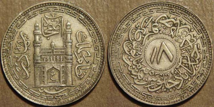Ancient Coins - INDIA, HYDERABAD, Mir Usman Ali Khan (1911-48) Second Series Silver 8 annas (1/2 rupee), Hyderabad, AH 1363, RY 34. SUPERB!