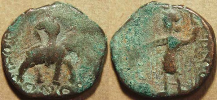 Ancient Coins - INDIA, KUSHAN: Huvishka AE tetradrachm, Elephant-rider/Pharro. RARE & CHOICE!