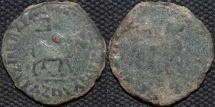 INDO-SCYTHIAN: Azes II AE hexachalkon: Bull/Lion, Senior 102.130. BARGAIN-PRICED!