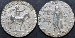 Ancient Coins - INDO-SCYTHIAN, AZES II Silver tetradrachm, Zeus left type, Senior 105.342T. CHOICE!