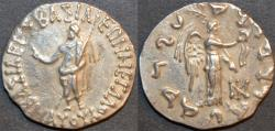 Ancient Coins - Indo-Scythian: Maues AR tetradrachm: Zeus/Nike. RARE and CHOICE!