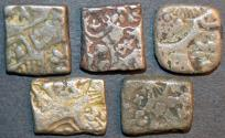 Ancient Coins - INDIA, MAURYA: Unattributed Punchmarked AR karshapanas. Lot of 5