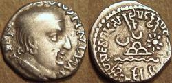 Ancient Coins - INDIA, WESTERN KSHATRAPAS: Jivadaman (c.197-198 CE) Silver drachm, Legend B, year S. 120. RARE and CHOICE!