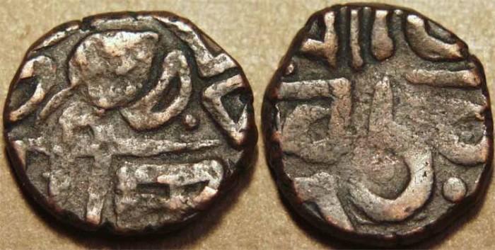 Ancient Coins - INDIA, SIKH imitation, AE paisa, Loharu?, KM Unlisted, Herrli 19.19