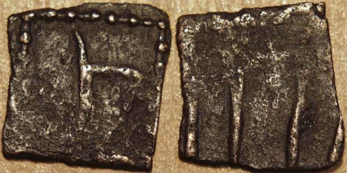 Ancient Coins - INDIA, SANGAM AGE MALAYAMAN (C 1ST-3RD CENTURY): Anonymous Copper unit. Goad in square. UNPUBLISHED, VERY RARE + CHOICE!