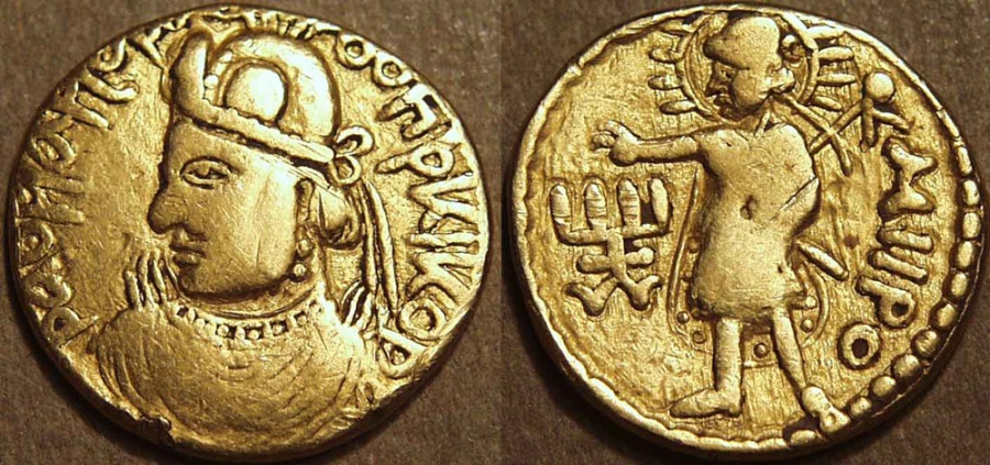 Ancient Coins - INDIA, KUSHAN: Huvishka Gold dinar, Close portrait type with Miiro (Mithra). EXTREMELY RARE!
