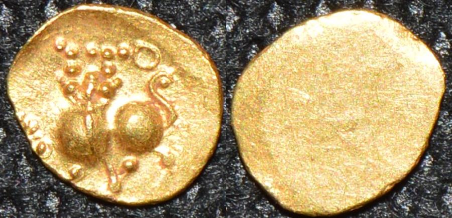 World Coins - INDIA, RASHTRAKUTAS ? Anonymous gold half fanam. UNPUBLISHED, VERY RARE AND SUPERB!