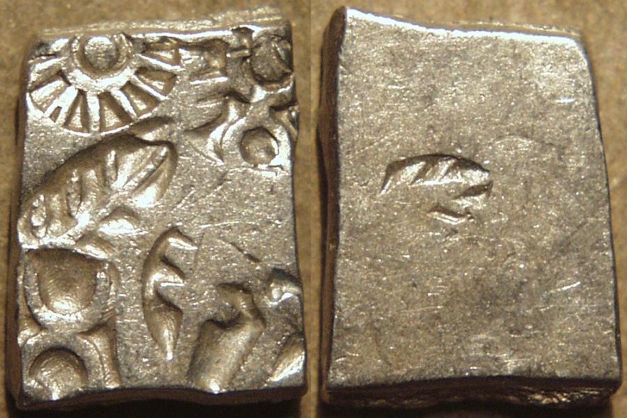 Ancient Coins - INDIA, MAURYA: Series VIb Silver punchmarked karshapana, GH 582. SUPERB!