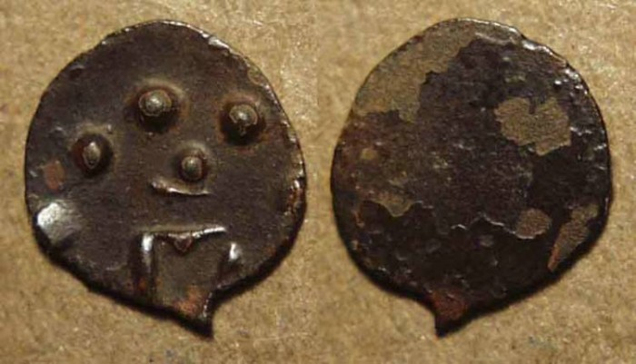 World Coins - INDIA, KADAMBAS of BANAVASI: Anepigraphic potin unit, conch type. RARE!