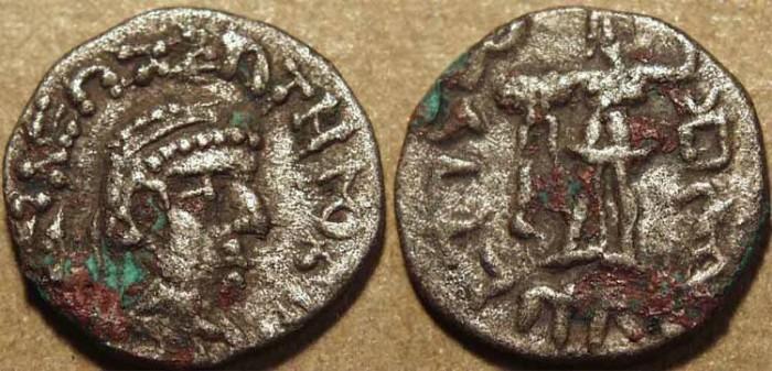 Ancient Coins - Indo-Greek: Bhadrayasha base AR drachm. RARE & CHOICE!