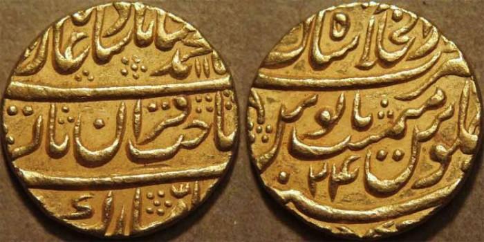 World Coins - INDIA, MUGHAL: Muhammad Shah (1719-1748) Gold mohur, Shahjahanabad (Delhi) AH 115x, RY 24. SUPERB!