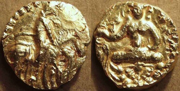 Ancient Coins - INDIA, Gupta: Prakasaditya Gold suvarna. SCARCE!