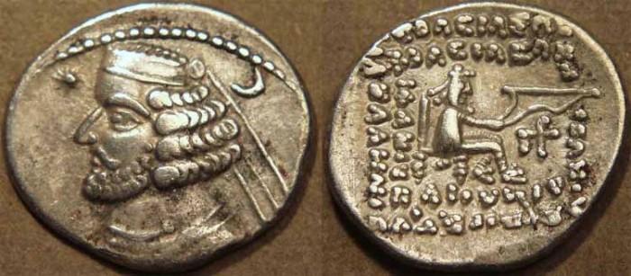 Ancient Coins - PARTHIA, ORODES II (57-38 BCE) Silver drachm, Rhagae, Sell 47.8. CHOICE!