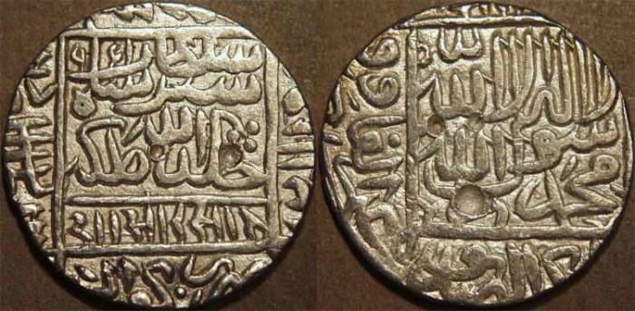 Ancient Coins - INDIA, DELHI SULTANATE, Sher Shah Suri (1538-45) Silver rupee of Gwaliar, AH 950. CHOICE!