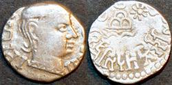 Ancient Coins - INDIA, WESTERN KSHATRAPAS: unidentified son of Rudradaman Silver drachm, as kshatrapa. CHOICE!