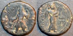 Ancient Coins - INDIA, KUSHAN: Kanishka I AE didrachm, Greek legends, Nanaia reverse. SCARCE!