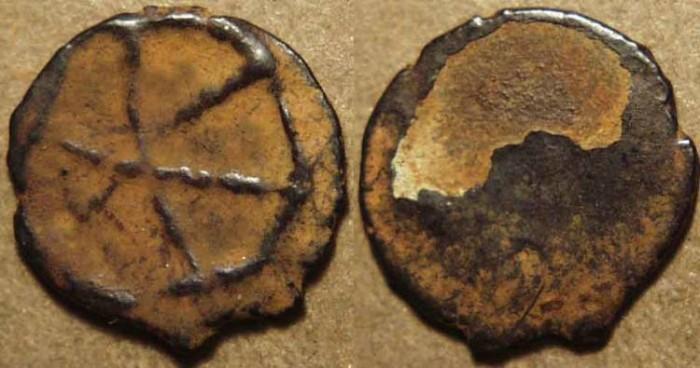 World Coins - INDIA, KADAMBAS of BANAVASI: Anepigraphic potin unit, chakra type. RARE and CHOICE!