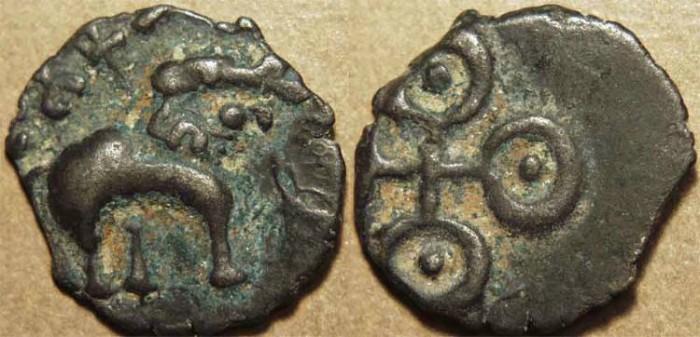 World Coins - INDIA, SATAVAHANAS, Sri Satakarni: Billon drachm, Elephant type. CHOICE!