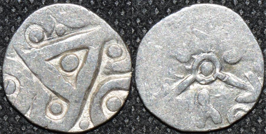 Ancient Coins - INDIA, Kuru janapada, c.4th century BCE, Silver 15-mana, biface with 6-arm symbol, broad flan, RARE and SUPERB!