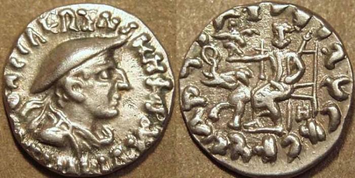 Ancient Coins - Indo-Greek: Antialcidas AR drachm: diademed bust wearing kausia. CHOICE!