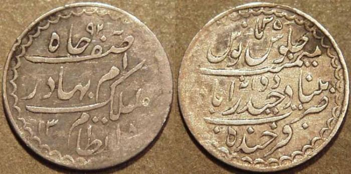 Ancient Coins - INDIA, HYDERABAD, Mir Mahbub Ali Khan (1868-1911) Provisional Milled Series Silver 1/8 rupee (2 annas), Hyderabad, AH 1318, RY 35. VERY RARE and CHOICE!