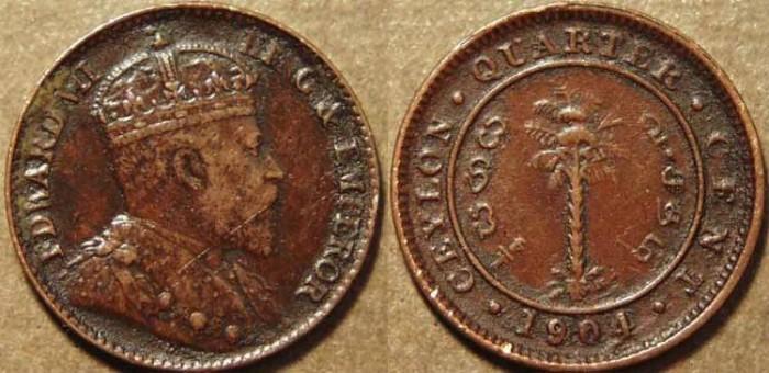 World Coins - SRI LANKA (CEYLON), BRITISH PERIOD, Edward VII Copper 1/4cent, 1904. SCARCE!