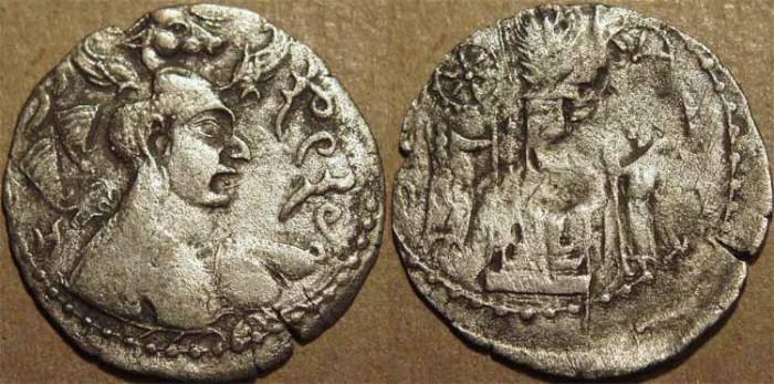 "Ancient Coins - INDIA, HEPHTHALITES, ""Napki Malka"" Silver drachm with bull's head crown. CHOICE!"