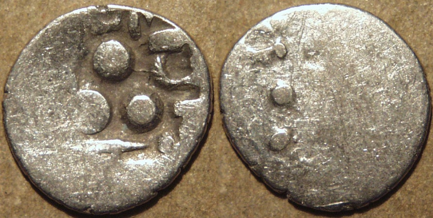 """Ancient Coins - INDIA, UNKNOWN KINGDOM IN SIND OR PUNJAB, Silver unit """"Three Dot"""" type"""