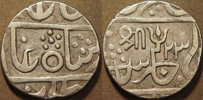 World Coins - INDIA, GWALIOR, Baija Bao (1827-33) Silver rupee in the name of Shah Alam II, year 23, Lashkar mint. SUPERB!